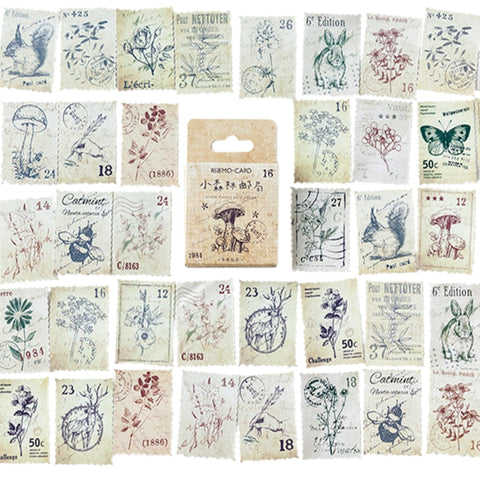 46 PCs/BOX Little Forest Post Office Diary Paper Label Sealing Crafts Scrapbooking Decorative
