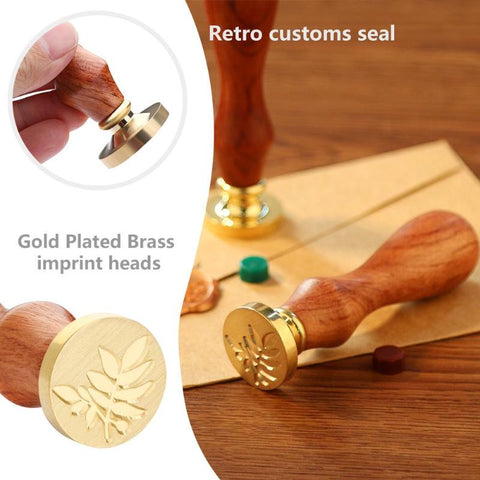 Retro Antique Metal Plants Sealing Wax Stamps Wood Handle Wedding Invitations Decoration