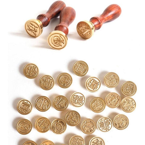 Retro Wood Classic 24 Letter Alphabet Initial Wax Seal Stamp Post Decorative Vintage DIY Handle Brass Head Wedding Invitation