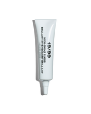 High-Shine Gloss tube, white tube with black text reading '19/99 High-Shine Gloss. Lips, Eyes Cheeks'