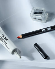 Product shot with High-Shine Gloss [white tube], VOROS Precision Colour Pencil and Precision Pencil Sharpener