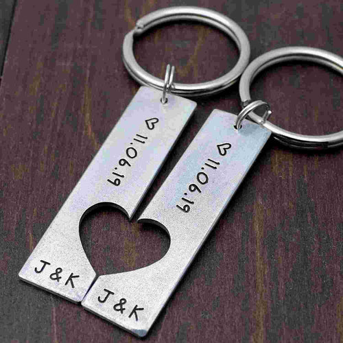Couple Puzzle Keychain Set