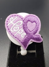 Load image into Gallery viewer, Purple Ribbon of Hope Heart badge Reel