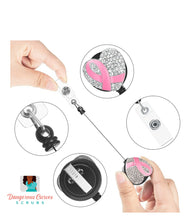 Load image into Gallery viewer, Pink Ribbon Rhinestone Badge Reel