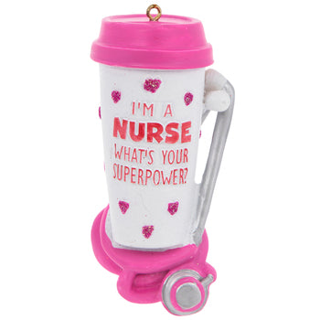 This fun ornament would be a lovely addition to any Christmas tree. It allows you to celebrate those wonder nurses that have touched you life. This Resin ornament features a white coffee tumbler with a pink lid, pink glitter hearts and the empowering phrase