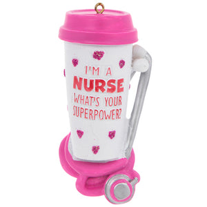 "This fun ornament would be a lovely addition to any Christmas tree. It allows you to celebrate those wonder nurses that have touched you life. This Resin ornament features a white coffee tumbler with a pink lid, pink glitter hearts and the empowering phrase ""I'm a nurse, what's your superpower"" also in pink. Under the tumbler is a pink and sliver stethoscope. Harness your superpower , and hang this ornament by its gold string"