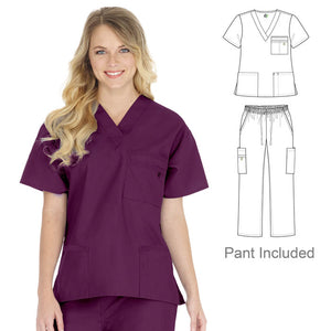 This unisex stretch scrub set is unisex. It has a 3 in 1 cargo pockets on the pant, two lower shirt pockets and a 3 in 1  breast pocket. Both 3 in 1 pockets have hoops for attaching things such as pens, badge reels and pen lights.
