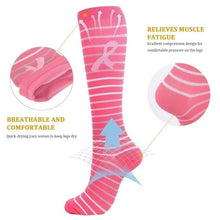 Load image into Gallery viewer, Think Pink Breast Cancer Awareness Compresssion Socks