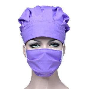 Purple Scrub Hat and Mask Sets