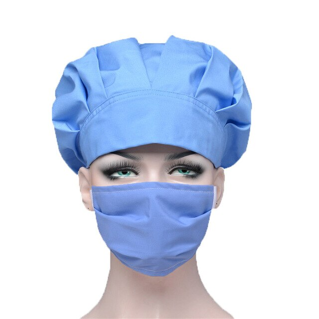 Sky Blue Scrub Hat and Mask Sets