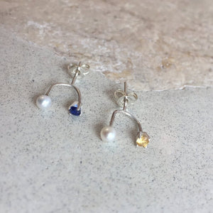 Trident Stud with Pearl and Sapphire