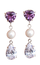 Load image into Gallery viewer, Fancy Heart Drop Earring with Amethyst and Pearls