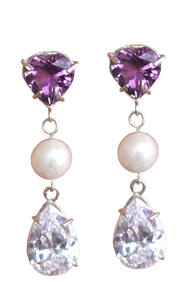Fancy Heart Drop Earring with Amethyst and Pearls