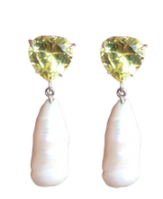 Load image into Gallery viewer, Heart and Monster Pearl Earring with Lemon Quartz
