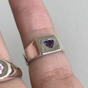 Chunky Square Signet with Amethyst