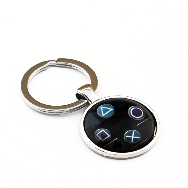 Black Playstation Button Pad Keychain