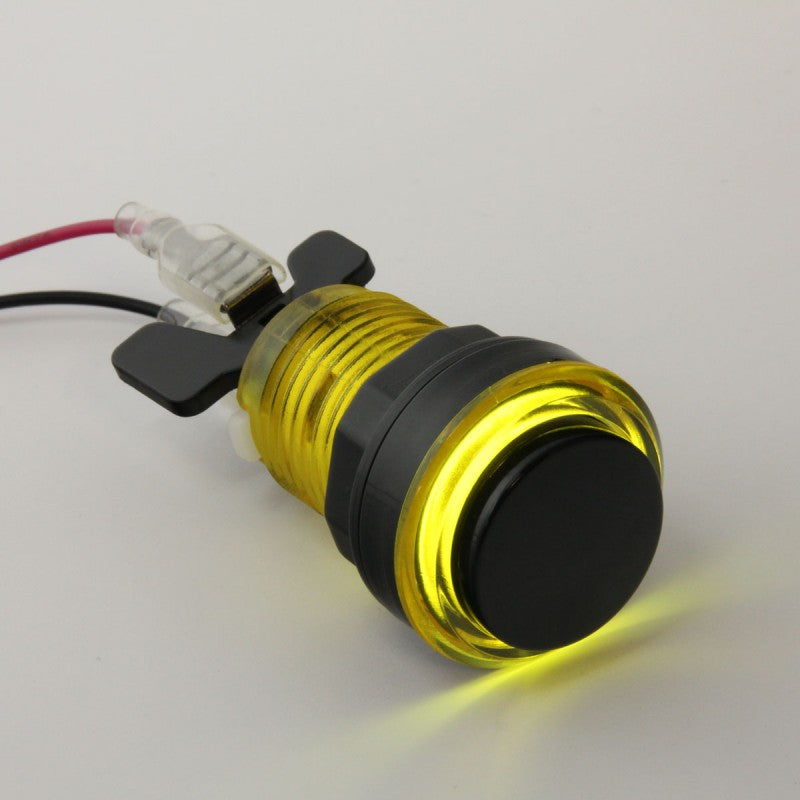 Paradise LED Button with Black Plunger - Translucent Yellow