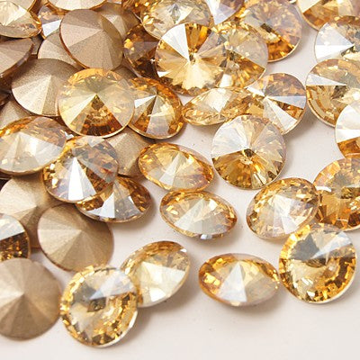 Golden Flare Rivoli Faceted Glass Pointed Cabochons Pack of 2