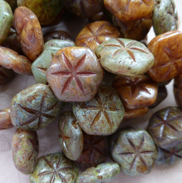 Pack of 10 Exquisite Czech Glass Beads Star, Picasso