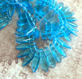 2hole Dagger Beads Aqua Strand of 50 Beads