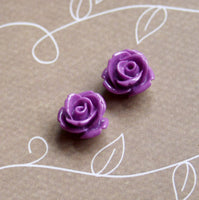 Purple Resin Flower Cabochon 12 mm Pack of 10
