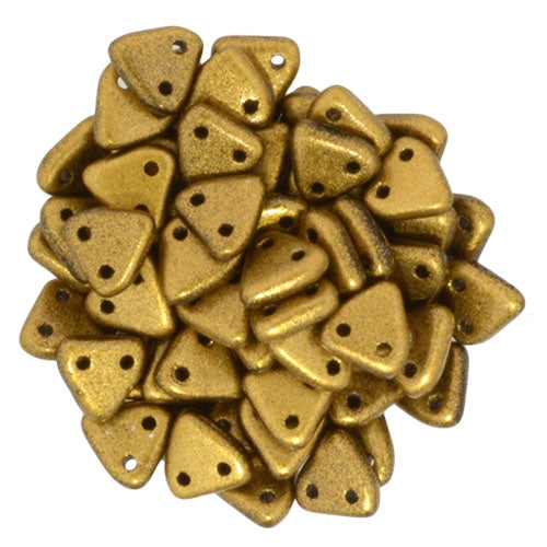 CzechMate Triangle Beads Matte Metallic Goldenrod 10 grams
