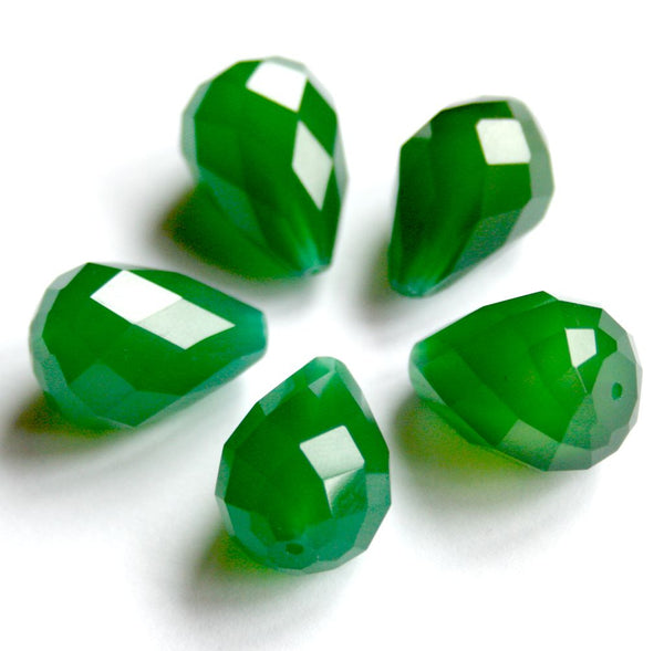 Pack of 4 - AAA Grade Green Agate Beads, Faceted Teardrop