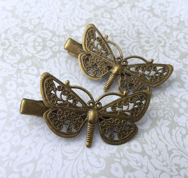 Antique Bronze Hair Clip with Butterfly Filigree Pack of 4