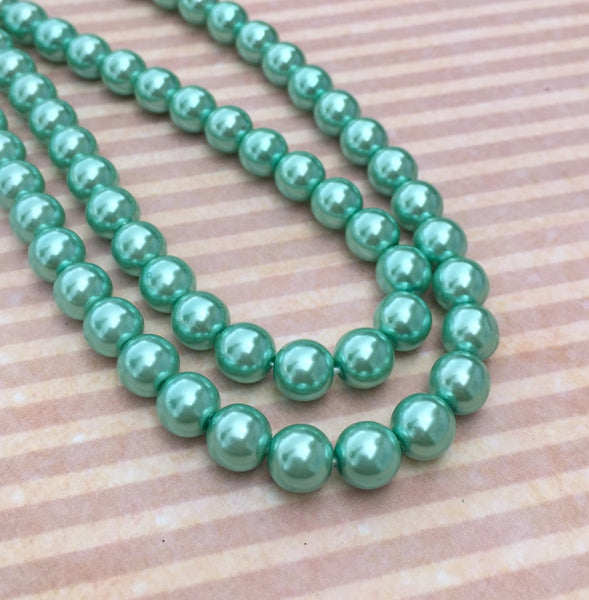 Aqua Round Czech Glass Pearls 8 mm Strand of 75 beads