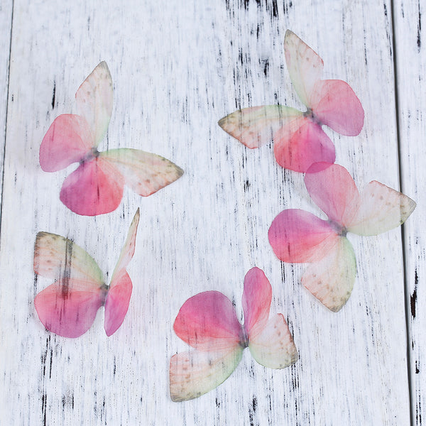 Pink Butterfly Ethereal Organza Embellishment for Millinery or Decoration Pack of 5
