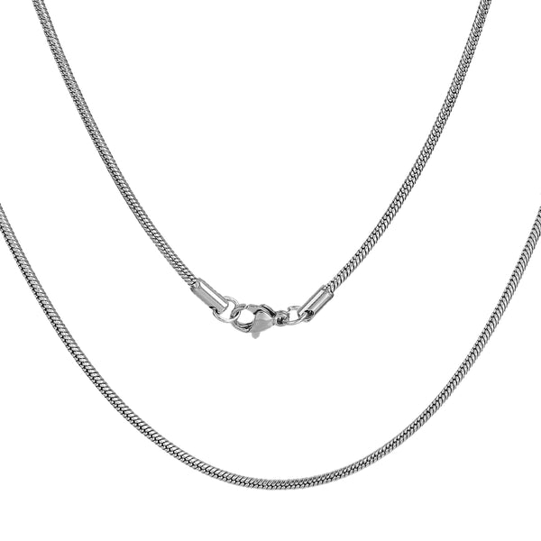 304 Stainless Steel Snake Chain Necklace 49.5cm Pack of 2