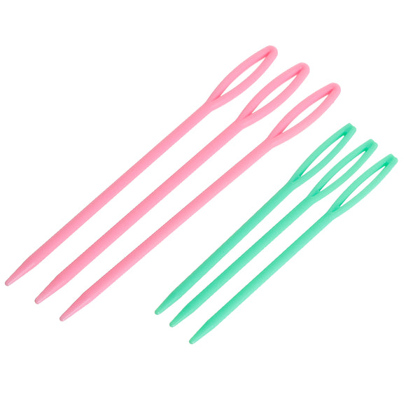 Big Eye Plastic Needles for Sewing or Kids Crafts 6 Needles in Two Lengths