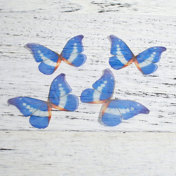 5x Ethereal Organza Royal Blue Butterfly for Millinery or Decoration