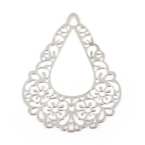 Silver Colour Chandelier Filigree Pack of 10