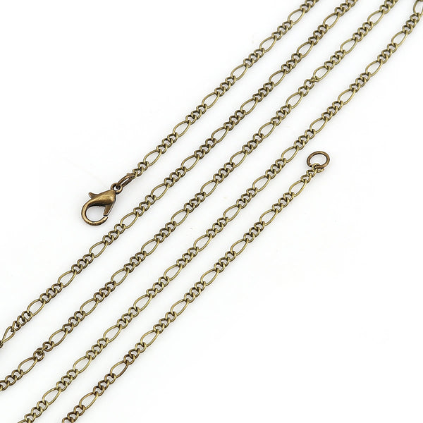 Figaro Link Chain Long Necklace Antique Bronze Pack of 12