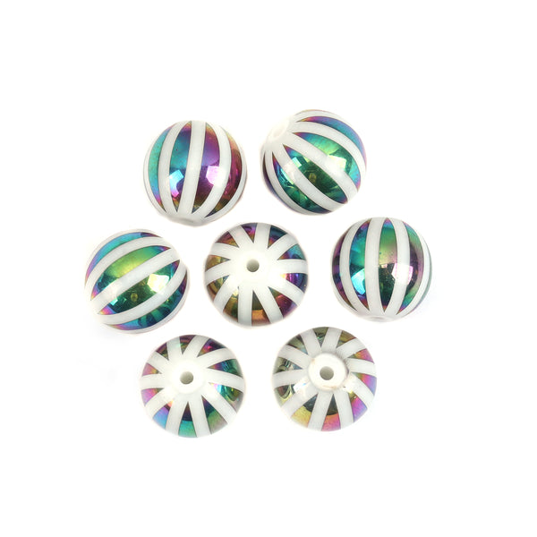 10 mm Glass Beads White and Green Iris Stripes - Pack of 15