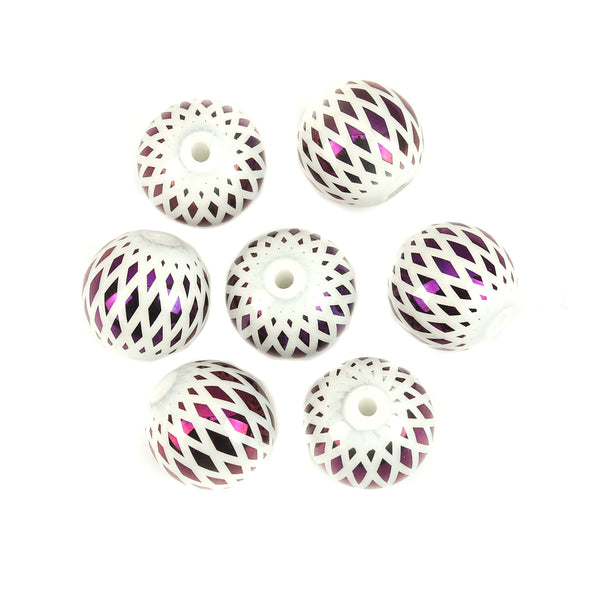 10 mm Glass Beads White and Purple Iris - Pack of 15