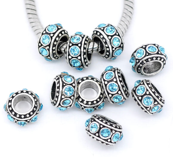 Large Hole Beads with Blue Rhinestones Pack of 10