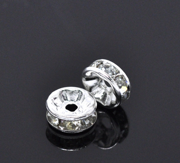 Silver and Rhinestone Bead Spacer Rondelles  Pack of 20