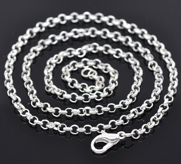 Cable Link Chain Necklace Silver Colour,