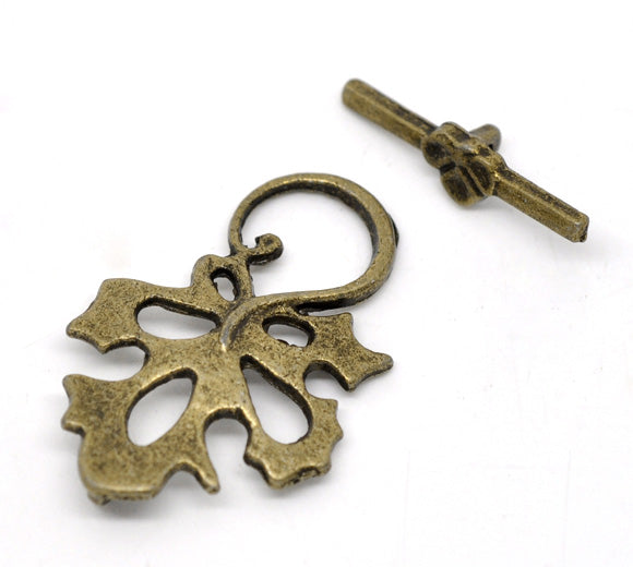 Antique Bronze Toggle Clasps Large Leaf 5 Sets