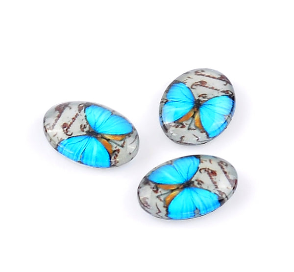 Glass Oval Cabochons with Blue Butterfly Pack of 10