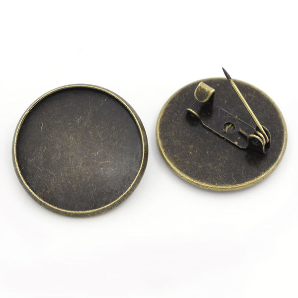 Bronze Colour Pin Brooches with 20 mm Base Pack of 10