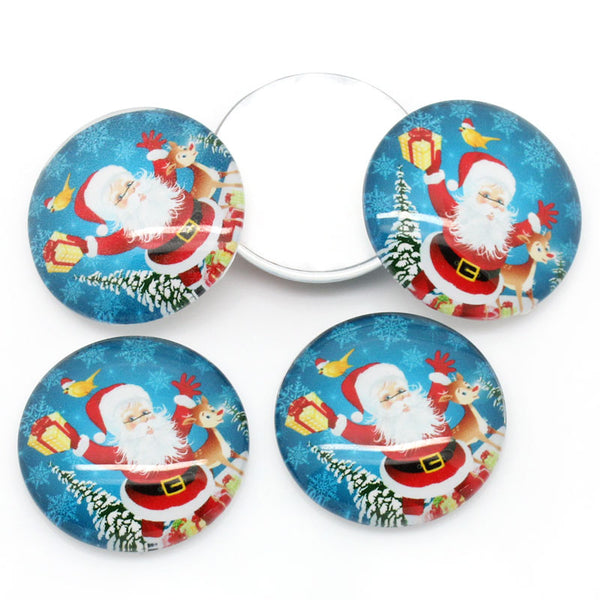 30 mm Glass Blue Christmas Cabochon Santa Claus Pack of 5