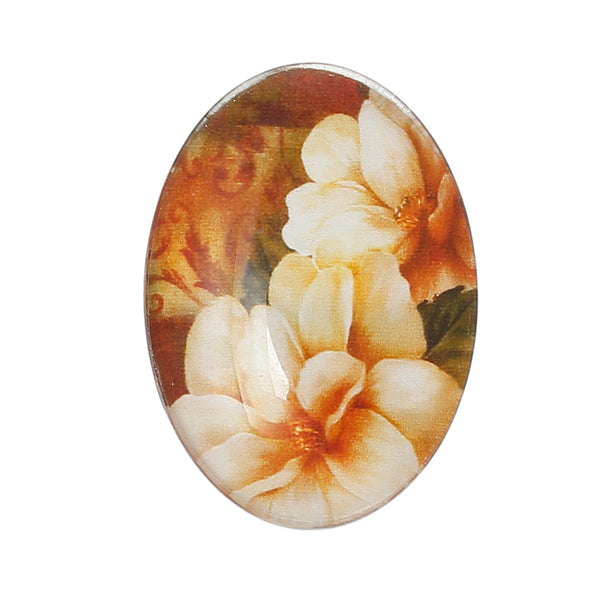 Glass Oval Floral Cabochons Pack of 4