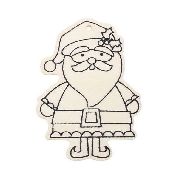 Pack of 4 Christmas Pendant, Paint your own Santa Claus