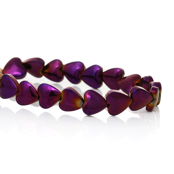 Strand of 72 Grade A Natural Hematite Beads Heart Purple