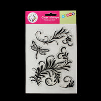 Clear Unmounted Silicone Stamps Dragonfly and Floral Patterns