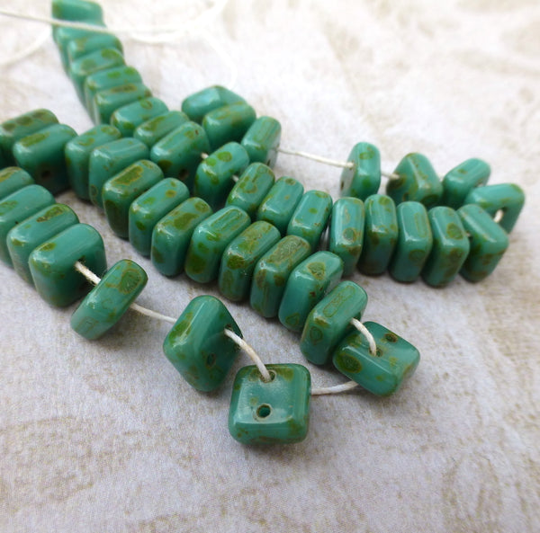 Chexx 2-hole Square Beads Green Turquoise Picasso - 25 Beads