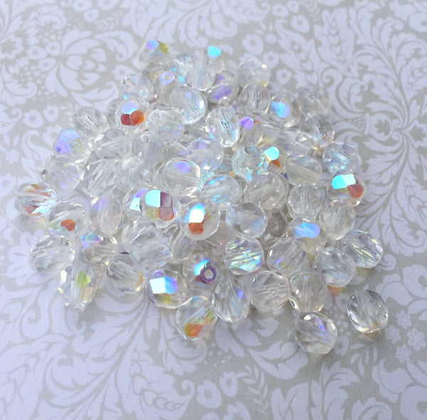 Crystal AB 6mm Fire Polished Beads Pack of 40